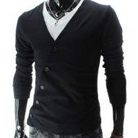 Amazon.com: TheLees (GD82) Mens Slim Fit Unbalanced Button Knit Cardigan: Clothing