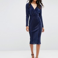 ASOS Pencil Plissé Dress with Wrap Detail