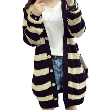 Women Striped Button Front Knitted Sweater Cardigan Outwear