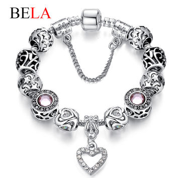 Bela Silver Original Charm Bracelet for Women With Exquisite Glass Bead Safety Clasp Mother's Day Gifts PS3009