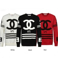 CHANEL Fashion Casual Long Sleeve Sport Top Sweater Pullover Sweatshirt White F