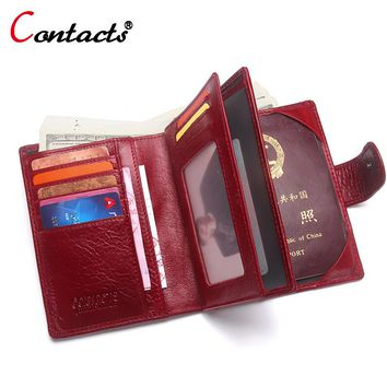 CONTACT'S Passport Cover women Wallet credit card holder Coin Purse Passport Cover Genuine Leather Men Wallet travel Organizer