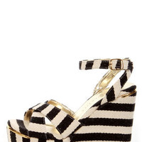 Very Volatile Nauttie Black Striped Platform Wedge Sandals