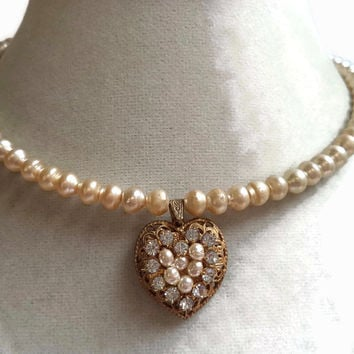 Miriam Haskell Baroque Pearl Rhinestone Heart Choker Necklace Bridal
