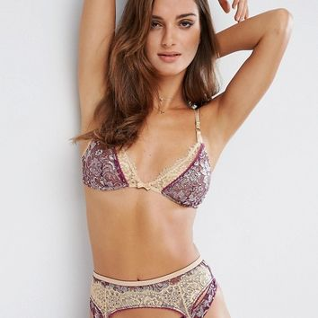 ASOS Premium Ophelia Double Layer Contrast Metallic Lace Triangle Bra at asos.com