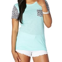 Cheetah Blocked Slub Tee