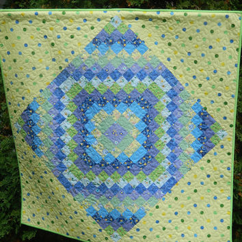 Handmade Baby Quilt from GloryQuilts - Polka Dots Quilted Wall Hanging