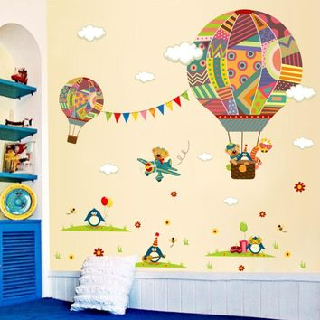 & Cartoon Airplane Bear Hot Air Balloons Penguin Removable Wall sticker Nursery Decals For Kids Room Home Decoration Mural