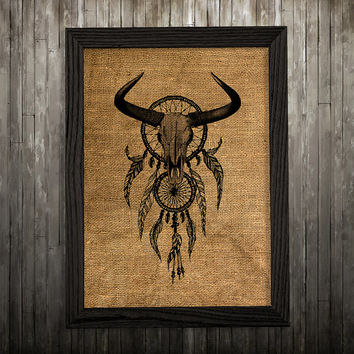 Tribal print Burlap art Dreamcatcher poster Antique print BLP764