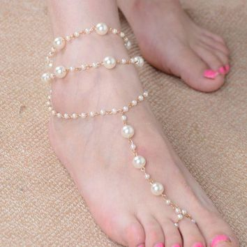 ONETOW Pearl anklet handmade beaded with anklet