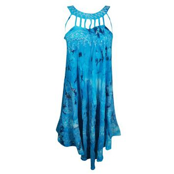 Mogul Womens Tie Dye Blue Sundress Sleeveless Flare Bohemian Style Summer Fashion Hippie Chic Tank Dresses - Walmart.com