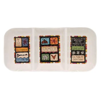 Tabletop FAMILY VALUE DIVIDED TRAY Plastic Melamine Give Thanks Love 1004040047