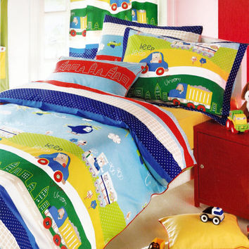 Transportation Duvet Cover Set in Queen or Full Size - Dark Blue, Red, Yellow, Green Cars, Trucks Printed Kids Bedding - 3 pcs - Custom Size