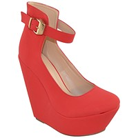 Womens Platform Shoes Ankle Strap Buckle Accent Dress Wedges Red