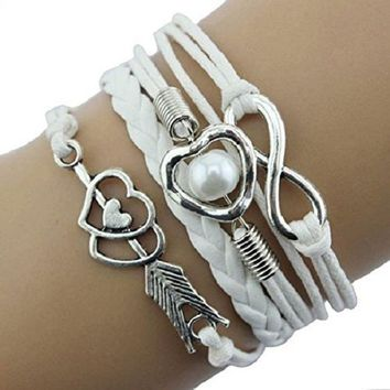 CREYV2S Doinshop New Infinity Chain Cuff Jewelry Antique Leather Charm Bracelet