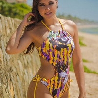Halter Neck Print One Piece Bikini 10831