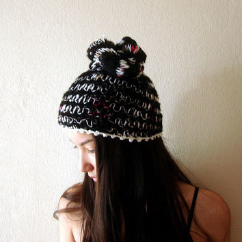 Long Night Cap Goth Black White Striped Hat ,Cone Women beanie