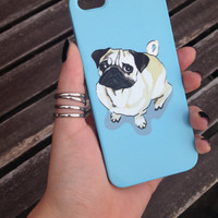 Pug Dog Blue Cell Phone Case iPhone 3 3GS 4 4S 5 5S 5C Samsung Galaxy S2 S3 S4 Mini S5 Sony Xperia Z Blackberry Z10 Curve Bold HTC One