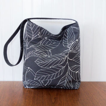 Slouch Purse - IKEA Leaves - Grey Purse - Slouch Bag - Fabric Purse