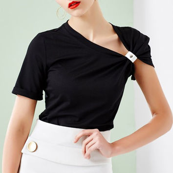 Solid Color Skew Collar Blouse
