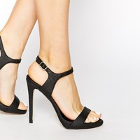 New Look Quentin Black Barely There Heeled Sandals