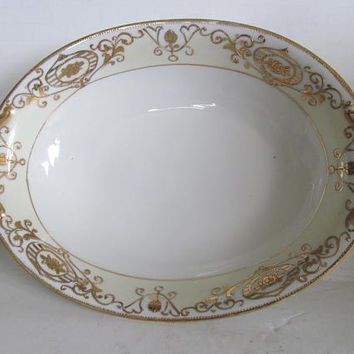 Pastel Yellow and Gold China Antique Serving Bowl Open Handle Oval Bowl Gold and White China Art Nouveau China Bowl Nippon china