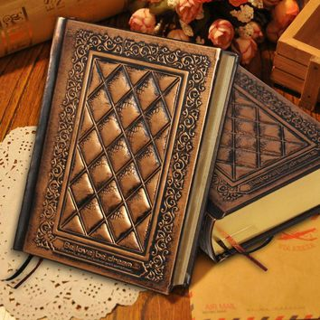 RuiZe vintage leather diary blank kraft paper thick notebook A5 journal hard cover handmade embossed note book gold edge