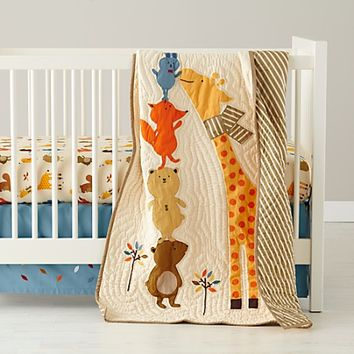 Bright Eyed, Bushy Tailed Crib Quilt in Boy Crib Bedding | The Land of Nod