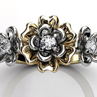 14k two tone yellow and white gold diamond unique floral three stone engagement ring, bridal ring, wedding ring ER-1057-7