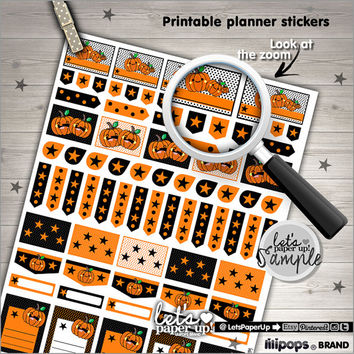 Printable Planner Stickers, Planner Stickers Halloween, Kawaii Stickers, Instant Download, Planner Accessories, Organizing Stickers, DIY