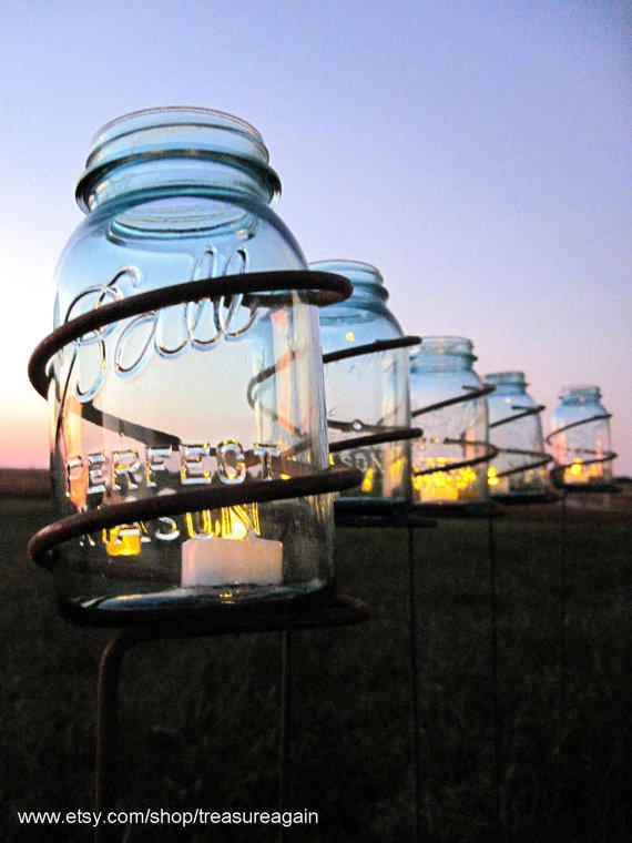 6 garden stake mason jar outdoor candle from treasureagain for Tall landscape lights