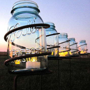 Superieur 6 Garden Stake Mason Jar Outdoor Candle Holders, Solar Light Stakes Tall  Decorative Wedding Lighting