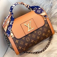 Louis vuitton LV  New fashion monogram print leather pillow shape boston shoulder bag crossbody bag Brown
