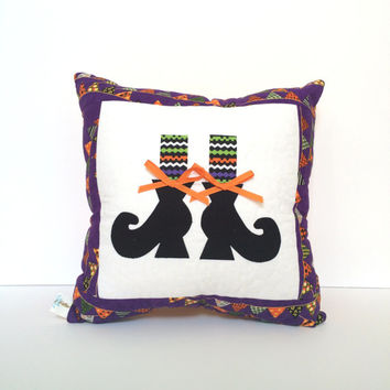 Quilted Halloween Pillow, witches feet pillow