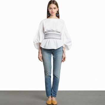 Casual Puff Sleeve Blouse with Waist Cinched for the Heavens