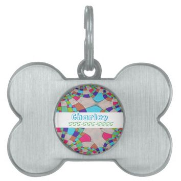Colorful Art Deco Tile Mosaic Name and Phone Pet ID Tag