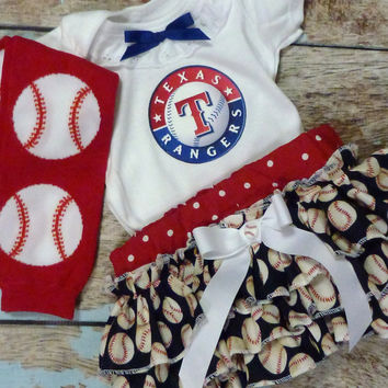 Girls Texas Rangers Baseball Outfit, Baby Girls Coming Home Outfit, Baby Shower Gift for Girls
