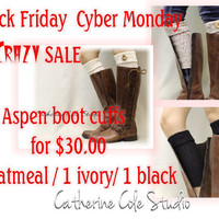 3 piece set Black Friday Cyber Monday Sale ASPEN CUFFS oatmeal, ivory, black knit Boot cuffs boot toppers mini leg warmers Catherine Cole
