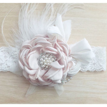 Baby Headband Ivory Headband Vintage Headpiece for photoshoot photo props and special occasions Girls Headband Wedding Headpiece