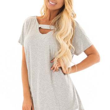 Heather Grey Short Sleeve Top with Criss Cross Back