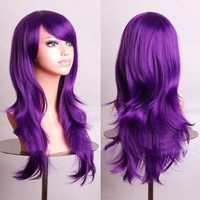 "MapofBeauty 28"" 70cm Long Curly Hair Ends Costume Cosplay Wig (Purple)"