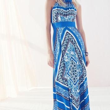 Scarf Print Halter Crêpe de Chine Maxi Dress (Regular & Petite)