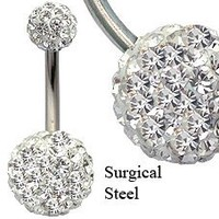 Crystal Belly Ring by GlitZ JewelZ © - CZ clear crystals, Surgical Steel bar 3/8' (10MM)