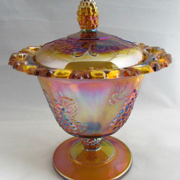 Indiana Glass | Iridescent Gold Carnival Glass | Filigree Edge Harvest Gold Covered Candy Dish
