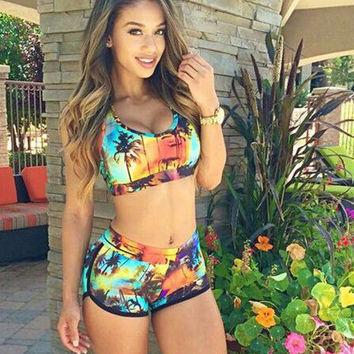 Floral Printed Shorts Sexy Women Two Piece Summer Swimsuit Bathing Suit Bandage Bikini Set