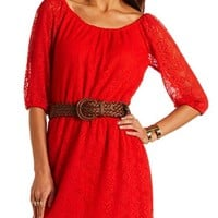 Belted Lace Shift Dress: Charlotte Russe