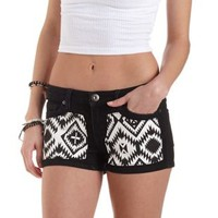 Black/White Aztec-Patched Low Rise Denim Shorts by Charlotte Russe