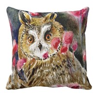 Owl blossom watercolor painting pillows
