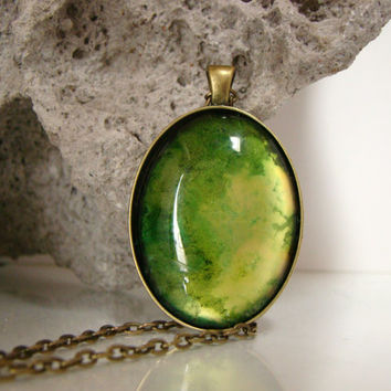 Green and gold necklace Green and gold art glass pendant Hand painted jewelry Hand painted necklace Alcohol ink pendant Large Oval Necklace