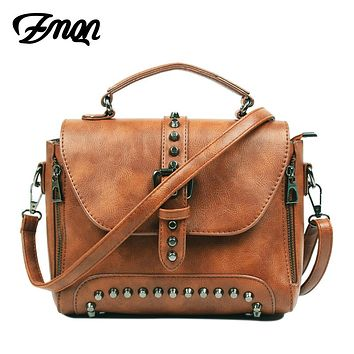 Women's Vintage-Look Leather Studded Crossbody/Shoulder Bag.      Available in Black, Brown, Gray, Green, Red and Beige.    ***FREE SHIPPING***